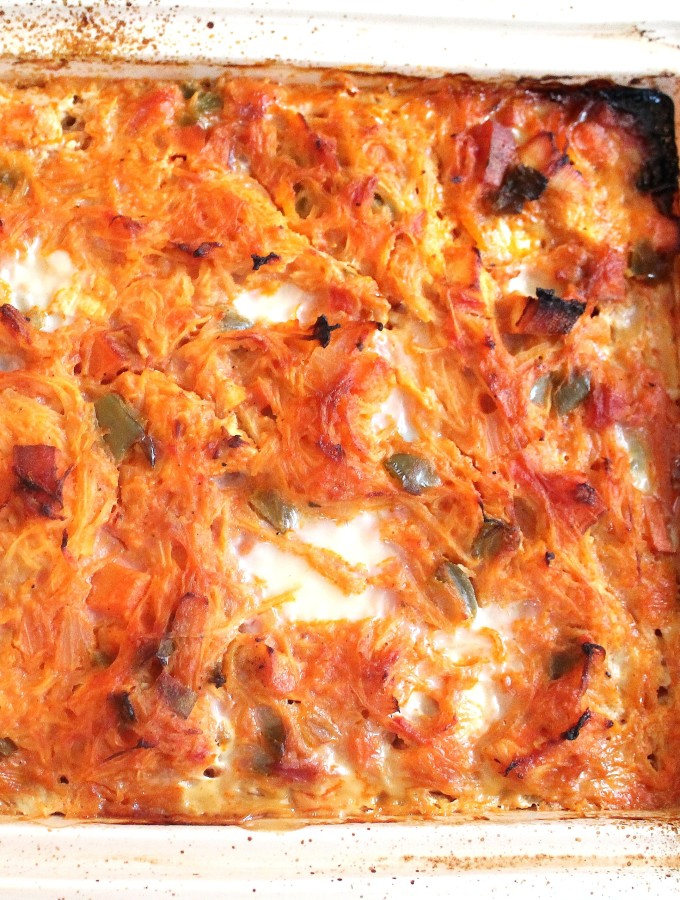 chicken & sweet potato spaghetti squash bake