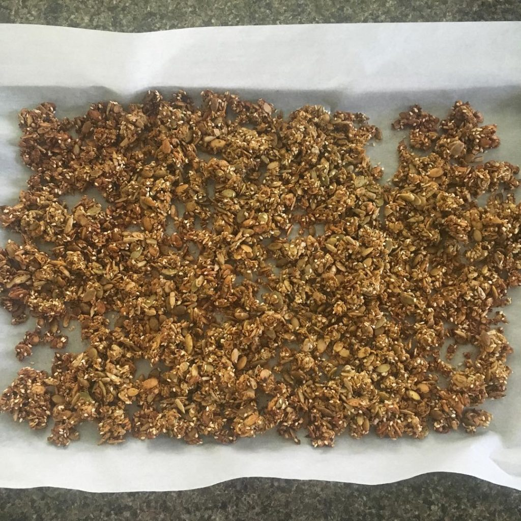 gf pumpkin granola right out of the oven! our apartmenthellip