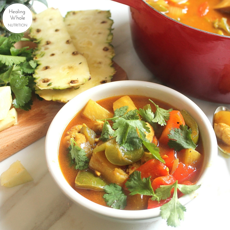 My new favorite curry recipe! This pineapple chicken curry is dairy free, sweet, spicy and so satisfying.