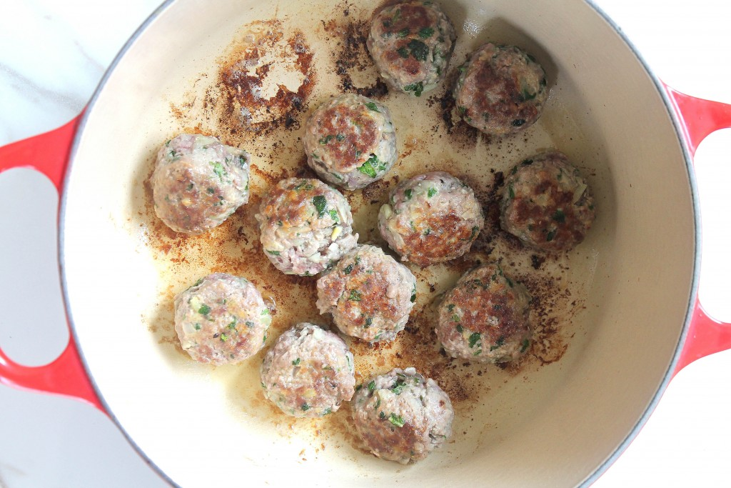 GF Greek meatballs with a slight hint of mint and parsley, simmered in a mint tomato sauce and served over rice.