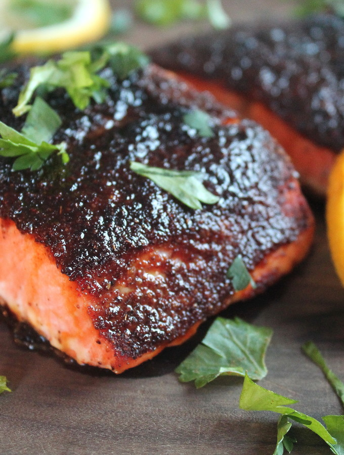 blackened sweet and spicy salmon