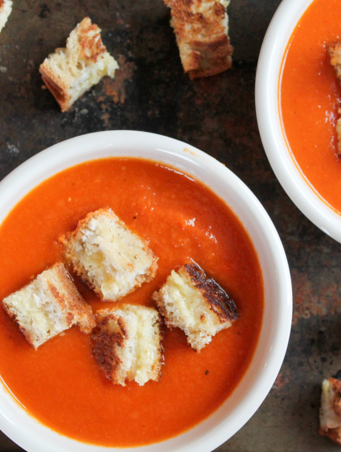 paleo tomato soup &  gf grilled cheese croutons